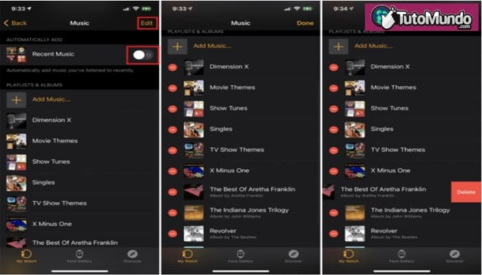 eliminar la música guardada en tu Apple Watch