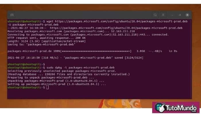 Instalar Microsoft-Prod y la aplicación de ejecución