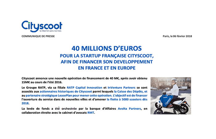 Cityscoot recauda 40 millones de euros